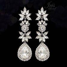 Rhodium Plated Clear Crystal Rhinestone Wedding Drop Dangle Earrings 04891 Prom
