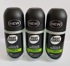 3 x Right Guard Total Defence 5 Fresh Anti-Perspirant Roll On, 50 ml,