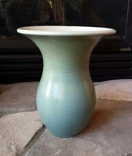 Vintage Antique Pottery Vase Blue / Teal Wide Rim Marked Side Unknown Maker ???