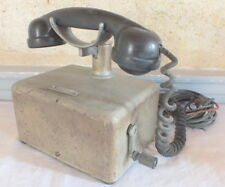 téléphone ancien manivelle tôle grise
