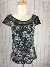 Review  size 8 Black & White Floral Blouse with Lace Yoke & Sleeves