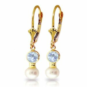 Genuine Aquamarine Gems Cultured Pearl Leverback Dangle Earrings 14K Solid Gold