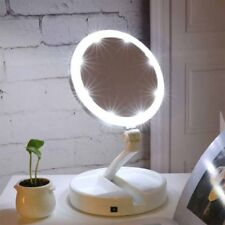 Portable Double Side Makeup Mirror Foldable LED Light illuminated 10x Magnifying