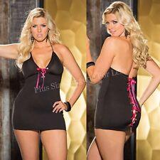 PLUS SIZE LINGERIE Queen Black Spandex Mini Dress Chemise  SOH96565Q