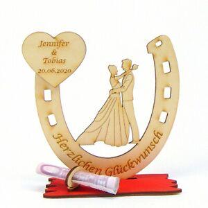 Geldgeschenk Gutschein Halter Brautpaar im Hufeisen Personalisiert zur Hochzeit