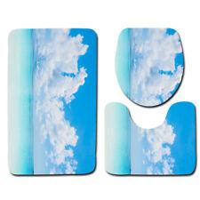 LE 3PCS/Set Blue Seaside Beach Bathroom Non-Slip Rug+Lid Toilet Cover+Bath Mat