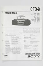 SONY CFD-9 Radio Cassette-Corder Service Manual/Guide/ WIRING DIAGRAM! O74