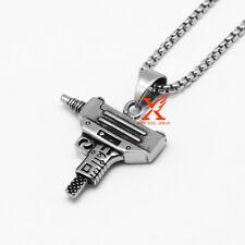 "24""  Stainless Steel Silver Supreme Uzi Machine Gun Engraved Pendant Necklace"