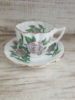 Vintage Clarence Bone China Beautiful Flowers Fluted Tea Cup and Saucer England