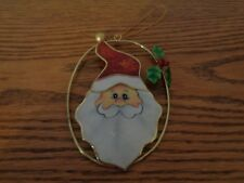 Capiz Shell Hand Painted Santa Christmas Ornament