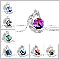 1Pc WOLF Silver Chain Crescent Moon Glass Cabochon Pendant Ladies Necklace
