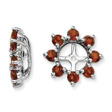 Platinum Sterling Silver Red Garnet Halo Earring Jackets For Studs