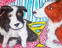 "BORDER COLLIE ""Martini Bliss"" Dog Art 8 x 10 Collectible Print Signed by KSAMS"