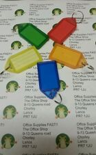 "5 x COLOURED MEDIUM 57mm 2"" SLIDING KEY RING FOBS WITH NAME CARDS"