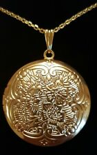 LARGE REAL 18K GOLD FILLED ROUND LOCKET PENDANT WITH NECKLACE + FREE GIFT BAG