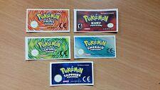 Gameboy Advance Pokemon Collection Replacement Label Sticker Nintendo Cartridge