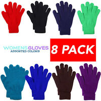 8 Pack Assorted Women Winter Warmer Knit Knitted Casual Gloves Stretch One Size