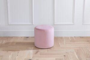 High Quality 450mm-450mm Stain Resistant Plush Velvet Blush Round Drum Stool
