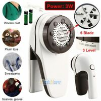 Rechargeable Fabric Shaver Lint Remover Fuzz Sweater Clothes Pill Fluff 6 Blades