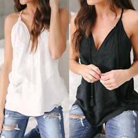 Fashion Women Summer Lace Sleeveless Vest Shirt Tank Tops Causal Blouse T-shirt