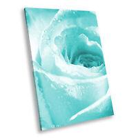 Blue Rose Rain Drops Portrait Abstract Canvas Wall Art Large Picture Prints