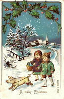 Antique Vintage Victorian Postcard MERRY CHRISTMAS Pig Snow Holly 1908