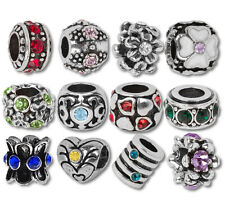 Beads and Charms European Charm Bracelets Rhinestone Birthstone Hearts Flowers