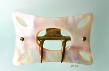 Antique Victorian Mother of Pearl Rectangular Shell Belt Buckle Brass With Claw