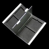 Silver Aluminum Compact 4 CF Flash Memory Card Storage Box Case Holder Protecter