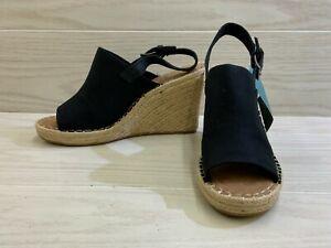 TOMS Monica 10013451 Wedge Sandal - Women's Size 9.5, Black MSRP $79.95