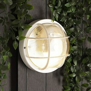 CGC Round Glass & Cage E27 Indoor Outdoor Wall Ceiling Light Surface Bulkhead