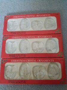 12 Kurt Adler Christmas Crystal Ornaments (plastic) Reindeer and Bells