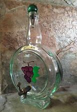 ITALIAN GLASS BOTTLE GRAPES VINO WINE DECANTER WITH STOPPER & WORKING TAP ITALY