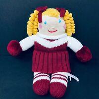 "Zubels 12"" Cheerleader Sweater Knit Plush Doll Maroon Blonde Pigtails Cotton"