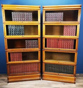 PAIR OF ANTIQUE OAK GLOBE WERNICKE BARRISTERS LIBRARY BOOKCASES CIRCA 1900