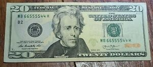 2013 $20 RARE FINDFANCY SERIAL NUMBER NEAR SOLID, QUAD, RADAR TRINARY