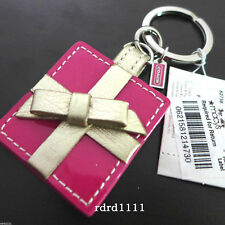NWT COACH PHOTO PINK PICTURE FRAME BOW LEATHER KEYCHAIN KEY RING FOB PURSE CHARM