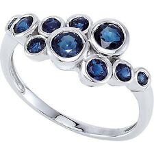 Genuine Blue Sapphires Round Cut Gemstones Bezel Set Ring 14K. Solid White Gold