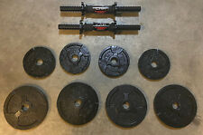 """2 CAP 14"""" STEEL Dumbbell Handles with 30lbs Total ADJUSTABLE 1"""" Weight Plates!"""