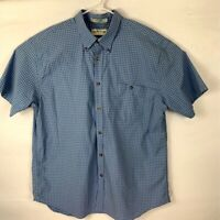 Orvis Mens Button Down Shirt Blue Check Short Sleeve Oxford Pocket Casual XXL