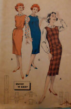 Vintage 50s Butterick Close Fitting Wiggle  Dress Pattern 8665 Size 13 Bust 33