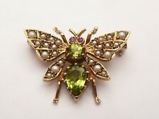 SUPER SUFFRAGETTE NOVELTY 9CT GOLD PERIDOT RUBY & PEARL BUG FLY BROOCH 3.9 GRAMS