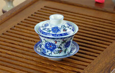 Blue Peony Porcelain Gongfu Gaiwan Teacup 100ml 3.4fl.oz * Free Shipping