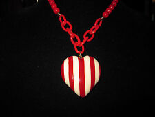 BETSEY JOHNSON RARE ROCKABILLY STYLE RED & WHITE STRIPPED HEART NECKLACE