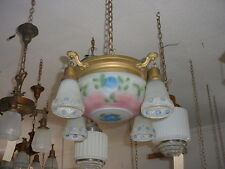 As Found 4 Drop Center Dome Chandelier Reverse Painted Floral Puffy Shades 5588