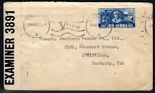 SOUTH ARICA 1942 JOHANNESBURG CENSORED COVER TO US