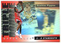 Scottie Pippen 3D STANDOUT HOLOGRAM TRIPLE DOUBLE CARD INSERT RARE HUGE BV$$$