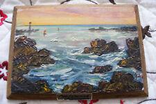 ancienne peinture marine huile sur bois signé Géo Labonne 3 Bretagne