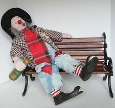 Porcelain Hobo Clown Doll on Wood Bench