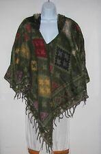 Poncho|Hoodie|Bohemian|Boho|Handmade|Yak Wool Blend|Tribal|Tassel|Fringe|Size